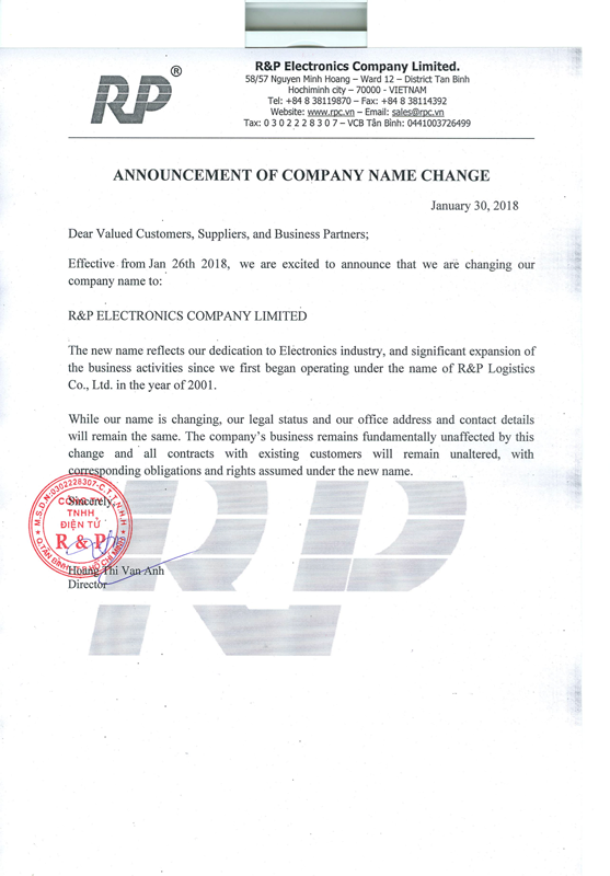 Announcement of Company Name Change